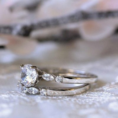 1.45 Ct Forever One Brilliant Moissanite Engagement Ring Set Real 925 Sterling Silver