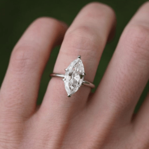 2.10 Ct Marquise Cut Diamond 6-Prong Solitaire Engagement Ring 14k White Gold
