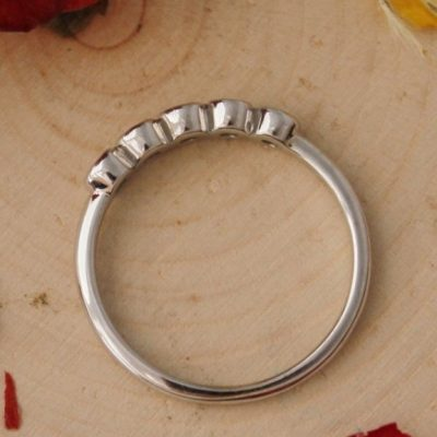 1.20 Carat Bezel Set Round Moissanite 5-Stone Wedding Anniversary Ring 14k White Gold