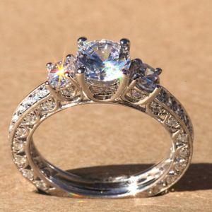 Vintage Art Deco 1.86 Ct Round Moissanite 3 Stone Engagement Ring Real 14k White Gold