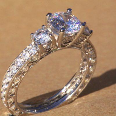 Gorgeous 3.30Ctw Cushion Cut Brilliant Diamond Engagement Ring Solid 14k White Gold