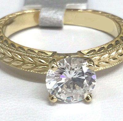 Vintage 1.53 CT Round Moissanite Wedding Engagement Ring 14k Yellow Gold