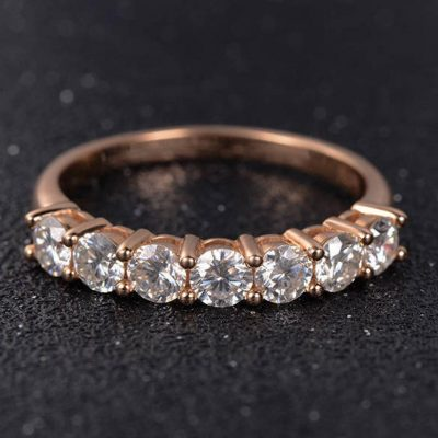 Classic 7-Stone 1.75 Ct Brilliant Cut Moissanite Luxury Wedding Band Solid 14k Rose Gold
