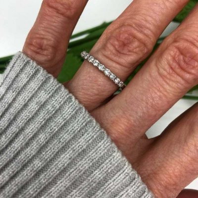 1.10 Ctw Near White Brilliant Moissanite Half Eternity Wedding Band Ring 14k White Gold