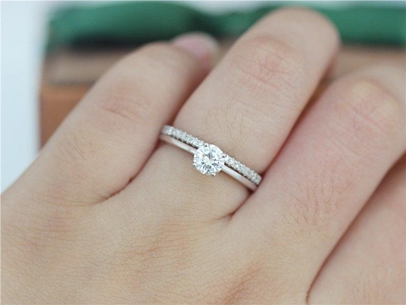 1.00 Ct Mini Round Cut Near White Moissanite Engagement Ring Set 14k Gold Plated