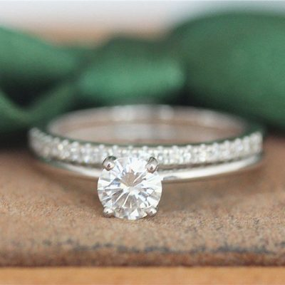 1.00 Ct Mini Round Cut Near White Moissanite Engagement Ring Set 14k Gold Plated