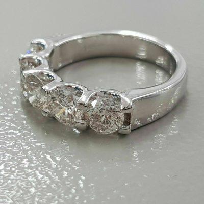 2.25 Ctw Round Cut Diamond U-Prong Setting 5-Stone Wedding Ring Real 14k White Gold