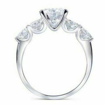 2.00 Carat Brilliant Cut Round Moissanite 5-Stone Engagement Ring 14k White Gold