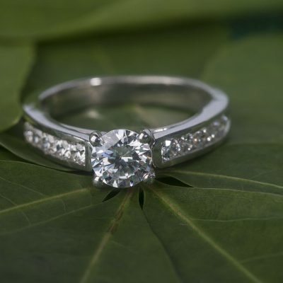 1.25 Carat Round Moissanite With Channel Set Engagement Ring 925 Sterling Silver