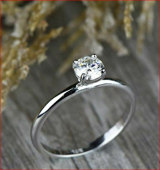 1.00 Ct Round Cut Real Moissanite Simple Solitaire Engagement Ring 14k White Gold