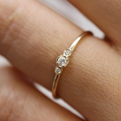0.65 Ctw Bezel Round 3-Stone Moissanite Anniversary Engagement Ring 14k Yellow Gold