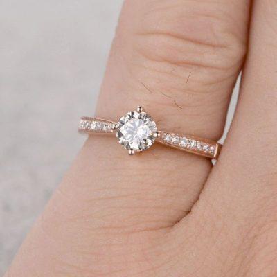 1.25 Ct Brilliant Cut Mini Round Moissanite Proposal Ring Engagement Ring 14k Rose Gold