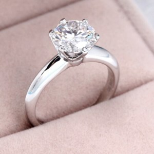 1.50 Ct Round Cut Moissanite Diamond Solitaire Engagement Ring 14k Gold Plated