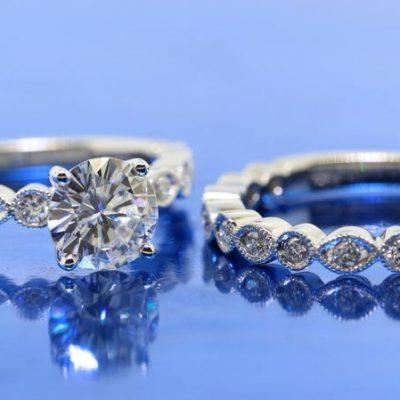 Vintage Art Deco 1.63CT Round Moissanite Engagement Ring Set 14K White Gold Plated