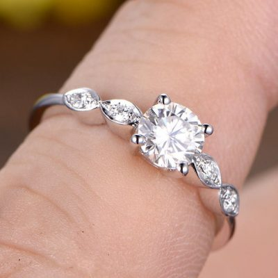 1.53Ct Solitaire Round Moissanite Promise Engagement Ring 14k White Gold Plated