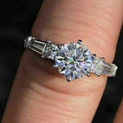 1.50CT Round Moissanite Solitaire With Accents Engagement Ring 14K White Gold Plated