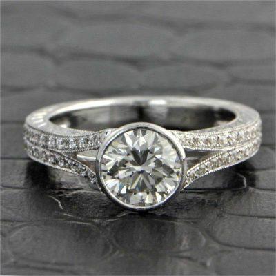 Vintage 1.65CT Bezel Round Moissanite Art Deco Engagement Ring 14K White Gold Pated
