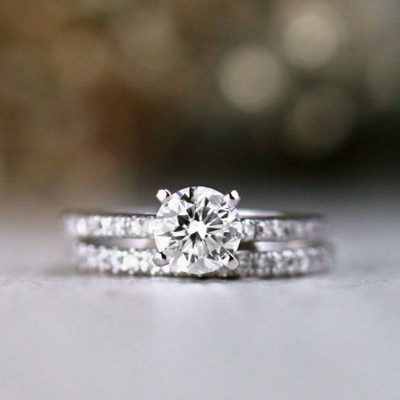 1.42 CT Solitaire Round Moissanite Engagement Ring Bridal Set Real 925 Starling Silver