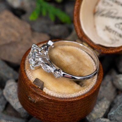 Vintage 1.50Carat Brilliant Round Moissanite Engagement Ring 14K White Gold Plated