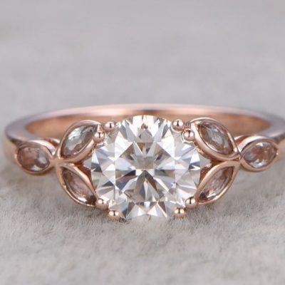 Vintage 1.47Ct Round Cut Brilliant Moissanite Engagement Ring Solid 14K Rose Gold