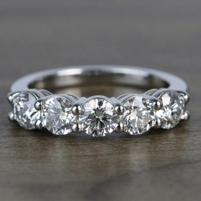 """Five Stone'' 1.75Ct Round VVS1 Real Moissanite Classic Engagement Ring In 14K White Gold"