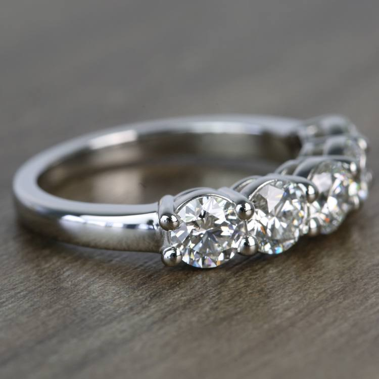 """""""Five Stone'' 1.75Ct Round VVS1 Real Moissanite Classic Engagement Ring In 14K White Gold"""