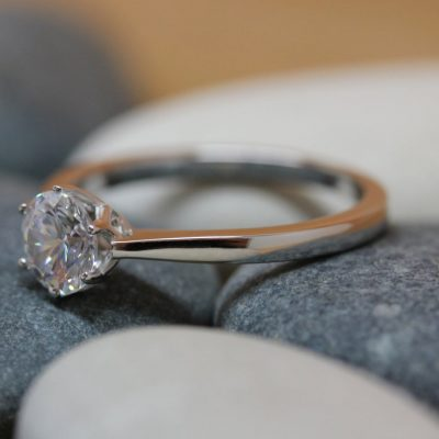 1.25 Carat Solitaire Round VVS1 Moissanite Simple Engagement Ring Gift For Her 14K White Gold Over