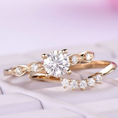 1.45Ct Round Cut Moissanite Engagement Ring Unique Wedding Set 14k Yellow Gold Plated