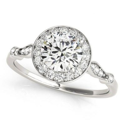 1.53Ct Near White Round Moissanite Halo Engagement Ring In 14K White Gold Plated