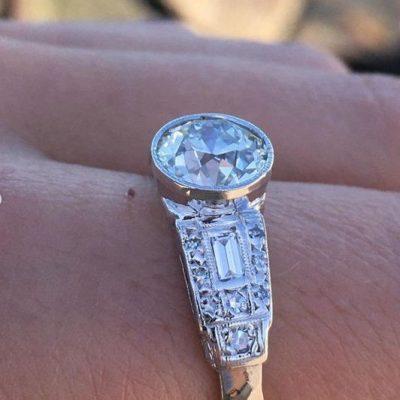 Vintage Art Deco 1.72Ct Round Shape Moissanite Bezel Engagement Ring Solid 14K White Gold