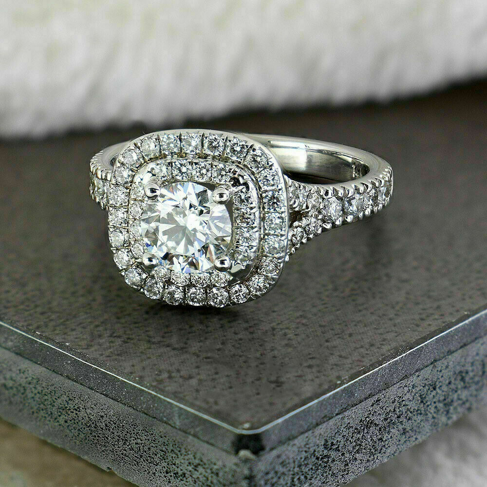 Classic 1.40CT Round Moissanite Double Halo Engagement Ring In 14k White Gold Plated