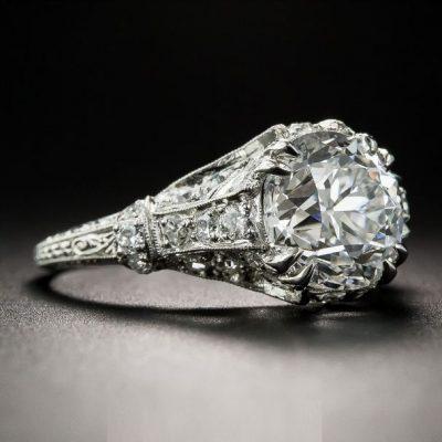 Vintage 1.89 Carat Brilliant Moissanite Ring, Art Deco Engagement Ring Solid 14K White Gold