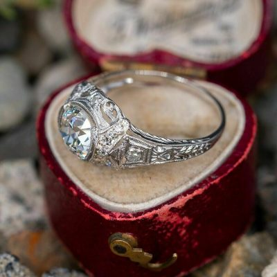 Vintage Art Deco 1.90Ct Near White Moissanite Bezel Engagement Ring In 14K White Gold