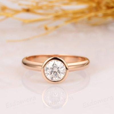 1.20CT Forever One Moissanite Bezel Set Engagement Ring Solid 14K Yellow Gold
