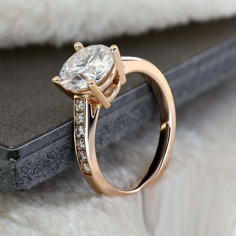 2.30Ct Solitaire Round Cut Moissanite Ring, Engagement Ring Solid 14K Rose Gold