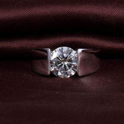 1.10CT Forever One Round Moissanite Channel Set Engagement Ring Real 925 Starling Silver