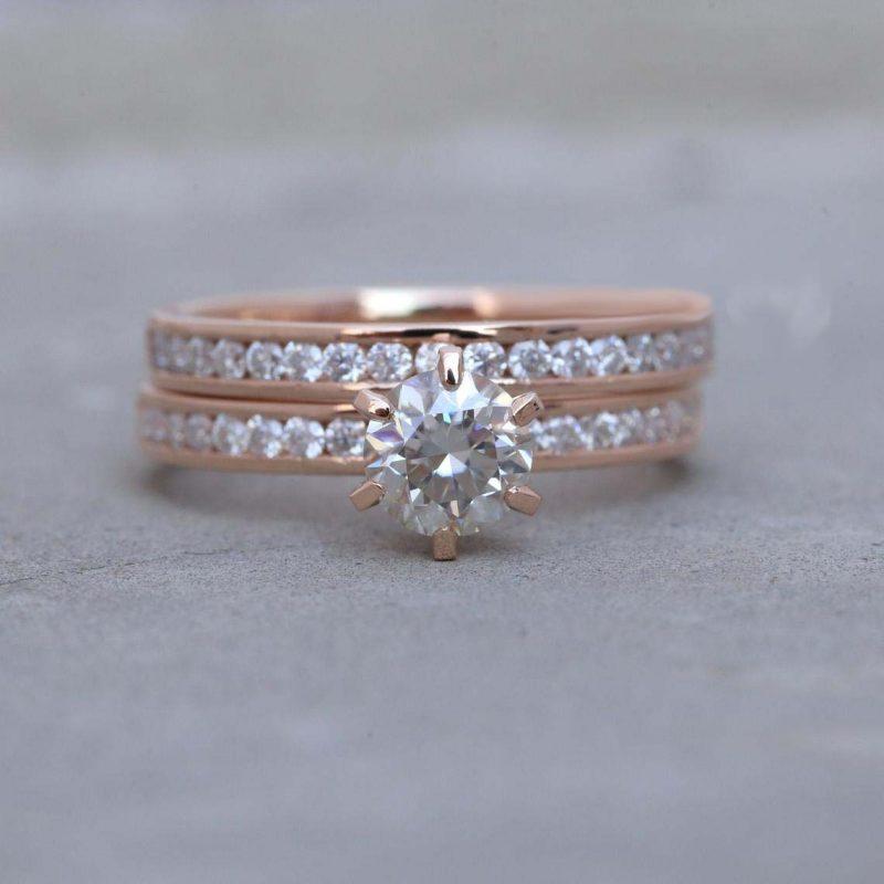 1.30CT Forever Round Moissanite Channel Set Engagement Ring & Bridal Set Solid 14K Rose Gold