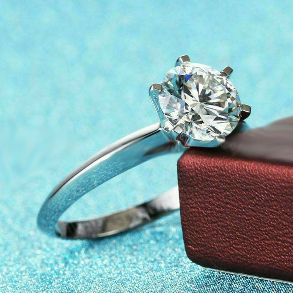 Moissanite Solitaire Engagement Ring Real 925 Sterling Silver 1.75 CT Round Excellent Cut