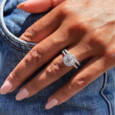 1.47CT Excellent Cut Moissanite Luxury Engagement Ring Bridal Set In 14K White Gold Over
