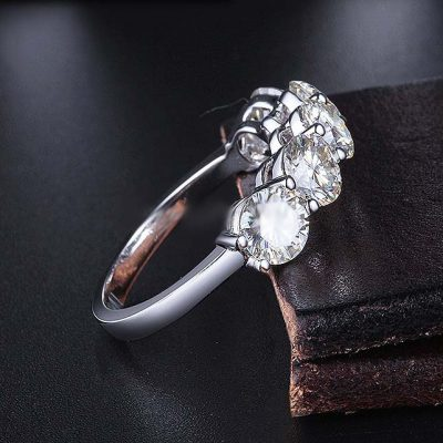 Unique 5-Five Stone 2.00 Carat Round Moissanite Anniversary Engagement Ring Solid 14K White Gold