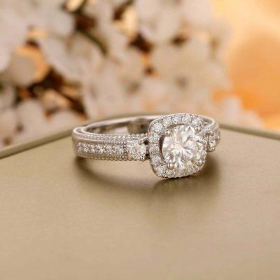 Vintage 1.60CT Brilliant Round Moissanite 3-Stone Engagement Ring 14K White Gold Plated