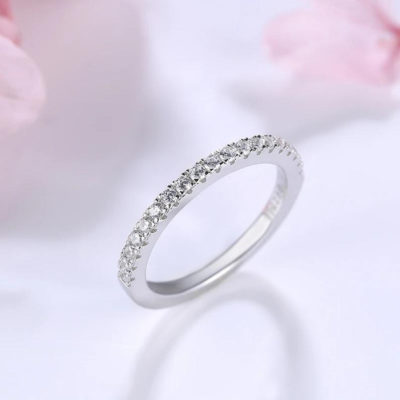 0.33 CT Round Cut Moissanite half Eternity Wedding Engagement Band Ring 14k White Gold