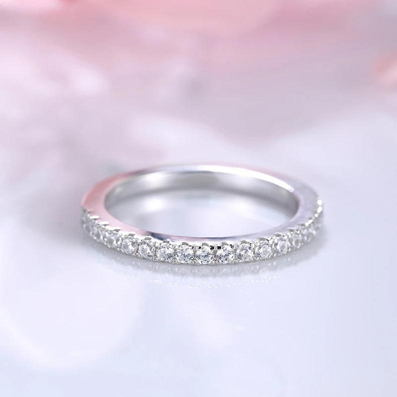 0.33 CT Round Cut Moissanite half Eternity Wedding Engagement Band Ring 14k White Gold