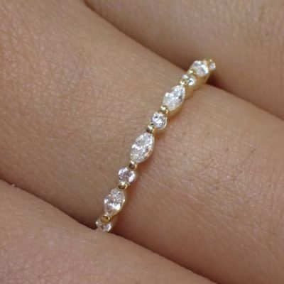 2.Ctw Marquise & Round Shape Diamond Wedding Band Anniversary Ring 14k Yellow Gold