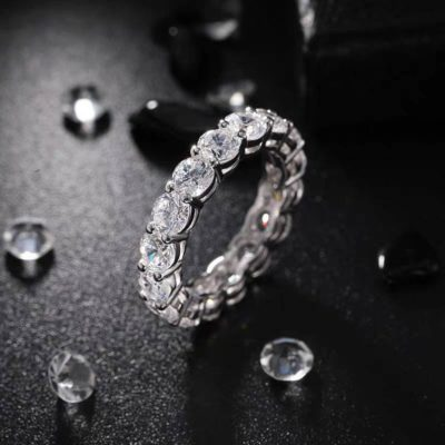 2.70 Ctw Moissanite Full Eternity Luxury Wedding Band Ring in 925 Sterling Silver
