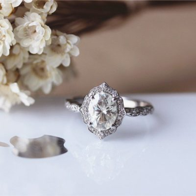 Vintage 1.72 Ct Center Oval Cut Moissanite Halo Engagement Ring Solid 14k White Gold