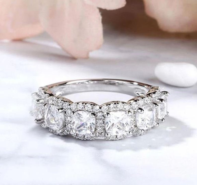 2.45 Ctw Cushion Cut 6-Stone Halo Diamond Wedding Band 10k White Gold