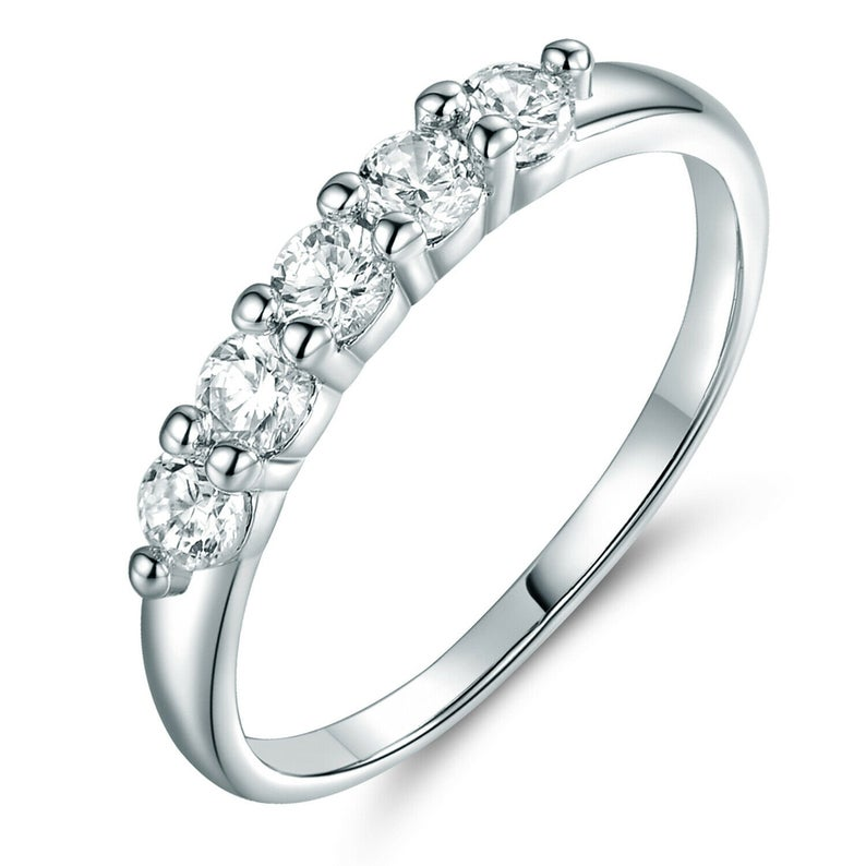 Classic 1.00 CT Round Cut Moissanite 5-Stone Solitaire Engagement Ring 14K White Gold