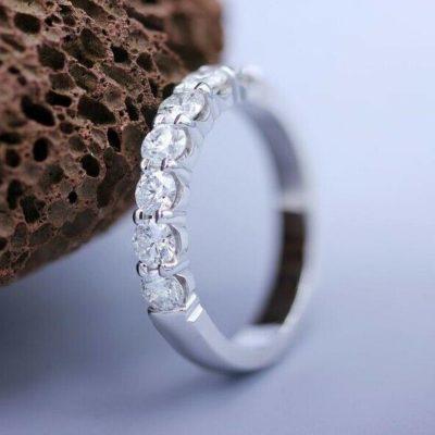 1.50 CT Brilliant Cut Moissanite Half Eternity Wedding Ring Band 14K White Gold