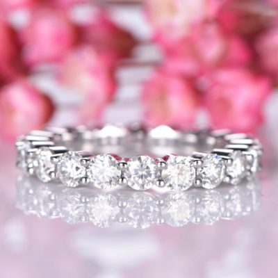 2.70 CT Round Cut Moissanite Solitaire Full Eternity Wedding Ring Band 14K White Gold
